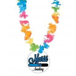 Badge marié loading ... mariage enterrement vie de garçon avec collier Hawai divers couleurs idée cadeau neuf