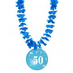 Badge humour 50 ans homme avec collier Hawai divers couleurs idée cadeau anniversaire neuf