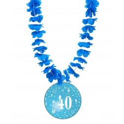 Badge humour 40 ans homme avec collier Hawai divers couleurs idée cadeau anniversaire neuf