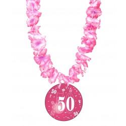 Badge humour 50 ans fille avec collier Hawai divers couleurs idée cadeau anniversaire neuf