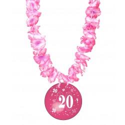 Badge humour 20 ans fille avec collier Hawai divers couleurs idée cadeau anniversaire neuf
