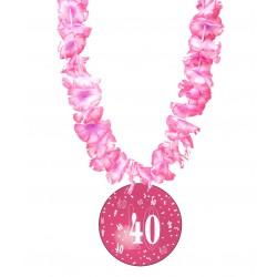 Badge humour 40 ans fille avec collier Hawai divers couleurs idée cadeau anniversaire neuf