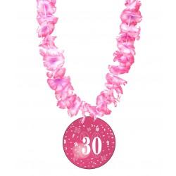 Badge humour 30 ans fille avec collier Hawai divers couleurs idée cadeau anniversaire neuf