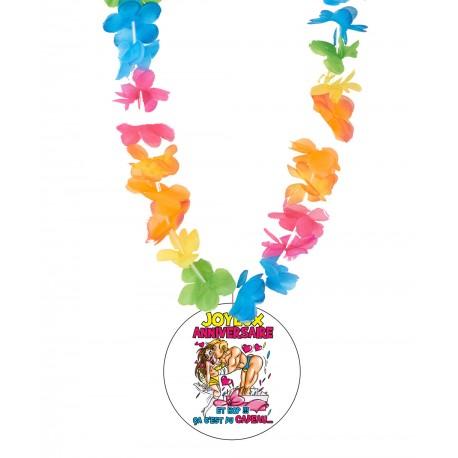Badge humour joyeux anniversaire fille avec collier Hawai divers couleurs idée cadeau anniversaire neuf