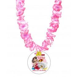 Badge médaille humour la 20 aine fille avec collier Hawai divers couleurs idée cadeau anniversaire neuf