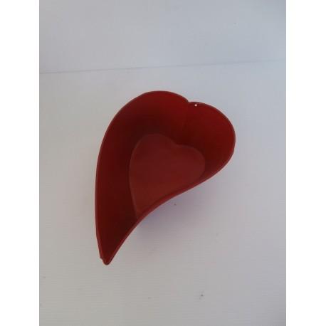 très joli cache pot en métal rouge forme coeur tbe