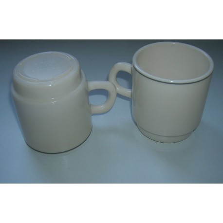 Vintage arcopal lot de 2 tasses empilables rebords vert