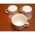 lot de 3 anciennes tasses porcelaine rebord doré or fin decor fleuries