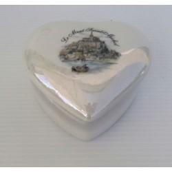 vide poches pot a bijoux céramique avec couvercle nacré motif mont st Michel
