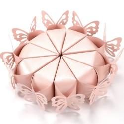 Lot de 10 boites a dragées mariage baptême naissance forme papillons rose ou blanc neuf emballé