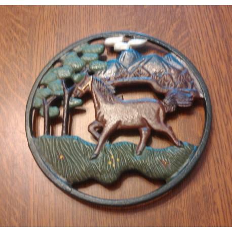 dessous de plat métal déco cheval peint tbe