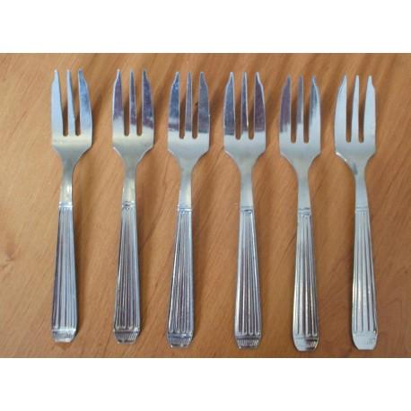Lot de 6 anciennes fourchettes huitre gateaux crustacé guy degrenne