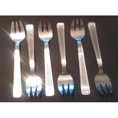 Lot de 6 anciennes fourchettes huitre gateaux crustacé inox poincon