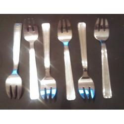 Lot de 6 anciennes fourchettes huitre gateaux crustacé inox poinçon v2