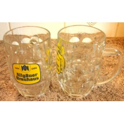 "Lot de 4 verres chopes a bière "" Allgauer Brauhaus 1394"" 0.5 l gradué tbe collection"