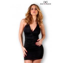 Robe noire froncée aux hanches sexy marque Revisim du XS au 8XL grande taille française coffret cadeau st valentin neuve