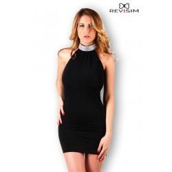 Robe moulante noire col strass sexy marque Revisim du XS au 8XL grande taille française coffret cadeau st valentin neuve