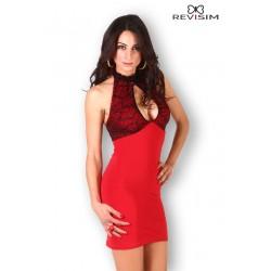 Robe rouge dentelle noire décolletée marque Revisim du XS au 8XL grande taille française coffret cadeau st valentin neuve