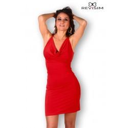 Robe rouge décolleté drapé dos nu marque Revisim du XS au 8XL grande taille française coffret cadeau st valentin neuve