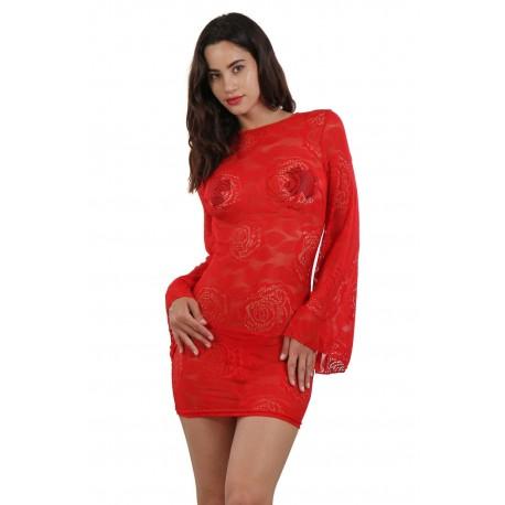 Robe rouge Dos nu Manches évasées marque française DU S/M ou L/XL cadeau st valentin anniversaire neuve