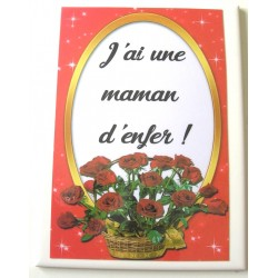 Une Maman d'enfer bouquet roses rouges sur faience idée cadeau anniversaire fête des mères neuf emballé
