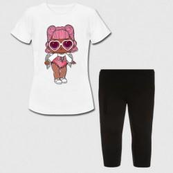 Ensemble Tshirt + legging court pour enfant - LOL modèle 2 du 4 au 12 ans idée cadeau anniversaire neuf