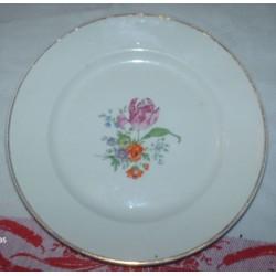 lot de 12 assiettes dessert blanches motif fleurs doré or fin