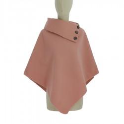 Poncho Gilet uni en col rabattu avec boutons taille unique fabrication Francaise grande qualité vêtement femme neuf