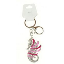 Porte clé argent hippocampe cheval de mer diverses couleurs bijoux fantaisie déco NEUF