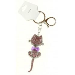 Porte clé argent argent chat en strass avec noeud diverses couleurs bijoux fantaisie déco NEUF