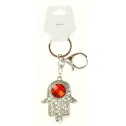 Porte clé argent argent main de fatma avec strass diverses couleurs bijoux fantaisie déco NEUF