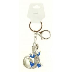 Porte clé argent argent pendentif lézard strass diverses couleurs bijoux fantaisie déco NEUF