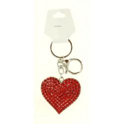 Porte clé argent pendentif en coeur strass diverses couleurs bijoux fantaisie déco NEUF