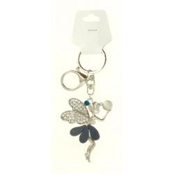 Porte clé argent argent en fée clochette strass diverses couleurs bijoux fantaisie déco NEUF