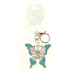 Porte clé argent argent en papillon avec strass diverses couleurs bijoux fantaisie déco NEUF