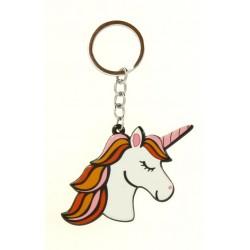 Porte clé anneau licorne avec sa chevelure colorée bijoux fantaisie déco NEUF