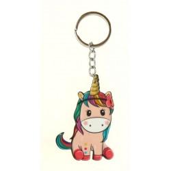 Porte clé anneau en forme de bébé licorne assise bijoux fantaisie déco NEUF