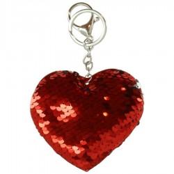 Porte clé en forme de coeur avec sequins 9 cm bijoux fantaisie déco NEUF