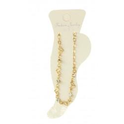 Chaîne pour cheville doré motif strass bijoux fantaisie déco NEUF