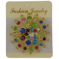Broche bijou fleur ronde strass en métal couleur doré bijoux fantaisie déco mariage baptême communion NEUVE