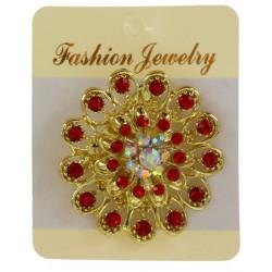 Broche bijou métal doré décorée avec strass colorés bijoux fantaisie déco NEUVE