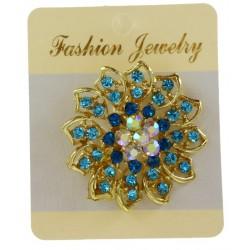 Broche bijou forme ronde en métal doré coloré de strass bijoux fantaisie déco NEUVE