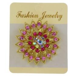 Broche bijou incrustée strass monté sur un métal doré bijoux fantaisie déco NEUVE