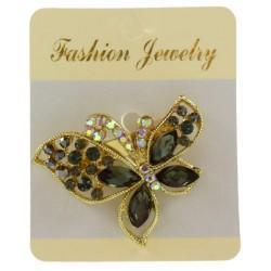 Broche bijou papillon en métal doré serti de strass bijoux fantaisie déco mariage baptême communionNEUVE