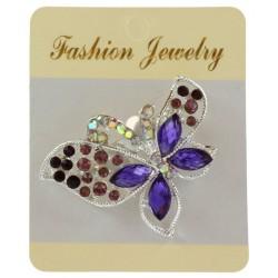 Broche bijou papillon en métal argenté serti de strass bijoux fantaisie déco mariage baptême communion NEUVE
