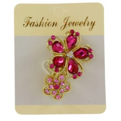 Broche bijou doré en forme de fleur avec strass bijoux fantaisie déco mariage baptême communion NEUVE