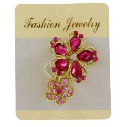 Broche bijou doré en forme de fleur avec strass bijoux fantaisie déco NEUVE