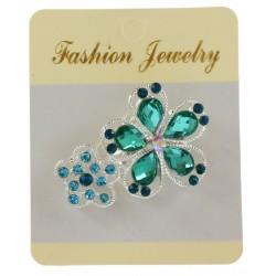 Broche bijou argenté en forme de fleur avec strass bijoux fantaisie déco NEUVE