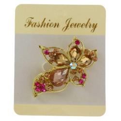 Broche bijou en métal doré enjolivé de strass brillant bijoux fantaisie déco mariage baptême communion NEUVE
