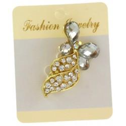 Broche bijou à strass avec support métal doré bijoux fantaisie déco NEUVE